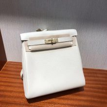 Stock Hermes CK10 Craie White Clemence Kelly Ado Backpack Shoulder Bag