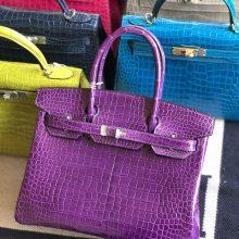 Stock Hermes Shiny Crocodile Birkin Bag30CM in Violet Silver Hardware