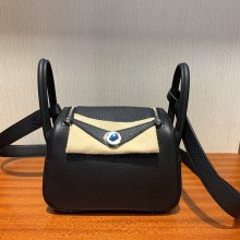 Customize Hermes CK89 Noir TC Calf Mini Lindy Bag Silver Hardware