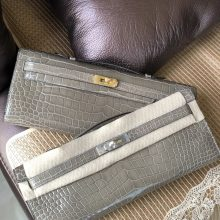 Stock Hermes CK81 Gris T Shiny Crocodile Kelly Cut Clutch Bag Gold/Silver Hardware