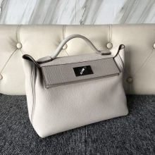 Stock Hermes 8L Beton White Togo/Gris Pearl Crocodile 24/24Kelly Bag Silver Hardware
