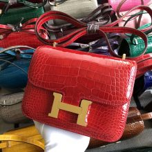 Stock Hermes CK95 Braise Shiny Crocodile Constance Bag18cm Gold/Silver Hardware