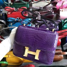 Stock Hermes Alligator Crocodile 9G Amethyst Purple Constance18CM Bag Gold Hardware