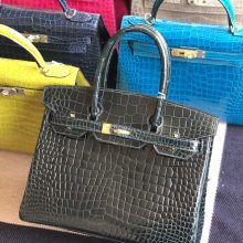 Stock Hermes Shiny Crocodile 1P Blue Colvert Birkin Bag30CM Gold Hardware