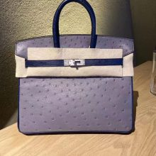 Customize Hermes Gris Agate/7L Blue Malta KK Ostrich Birkin25CM Bag Frosted Silver