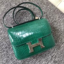Stock Hermes 6Q Vert Emerald Shiny Alligator Crocodile Constance Bag18CM Silver Hardware