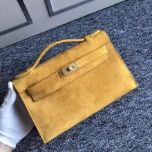 Stock New Hermes 9D Ambre Yellow Doblis Suede Minikelly Clutch Bag22CM Gold Hardware