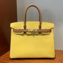 Stock Hermes 9D Ambre Yellow & CK37 Gold KK Ostrich Birkin30cm Bag Gold Hardware