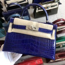 Stock Hermes 7T Blue Eletric Shiny Crocodile Minikelly-2 Clutch Bag Silver Hardware