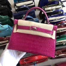 Stock Hermes Shiny Crocodile Minikelly-2 Clutch in J5 Rose Scheherazade Silver Hardware