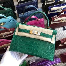 Stock Hermes 6Q Vert Emerald Shiny Crocodile Minikelly-2 Bag Gold Hardware