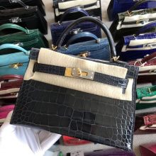 Stock Hermes Alligator Crocodile Blue Indgo Minikelly-2 Clutch Bag Gold Hardware