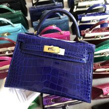 Stock Hermes 7T Blue Eletric Shiny Crocodile Minikelly19cm Evening Bag Gold Hardware