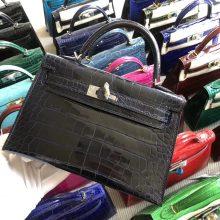 Stock Hermes 73 Blue Saphir Shiny Crocodile Minikelly-2 Clutch Bag Gold/Silver Hardware