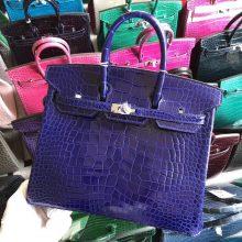 Stock Noble Hermes 7T Blue Electric Shiny Crocodile Birkin Bag25CM Silver Hardware