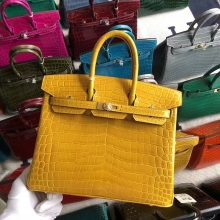 Stock Hermes Shiny Crocodile Birkin25cm Bag in 9D Ambre Yellow Gold Hardware