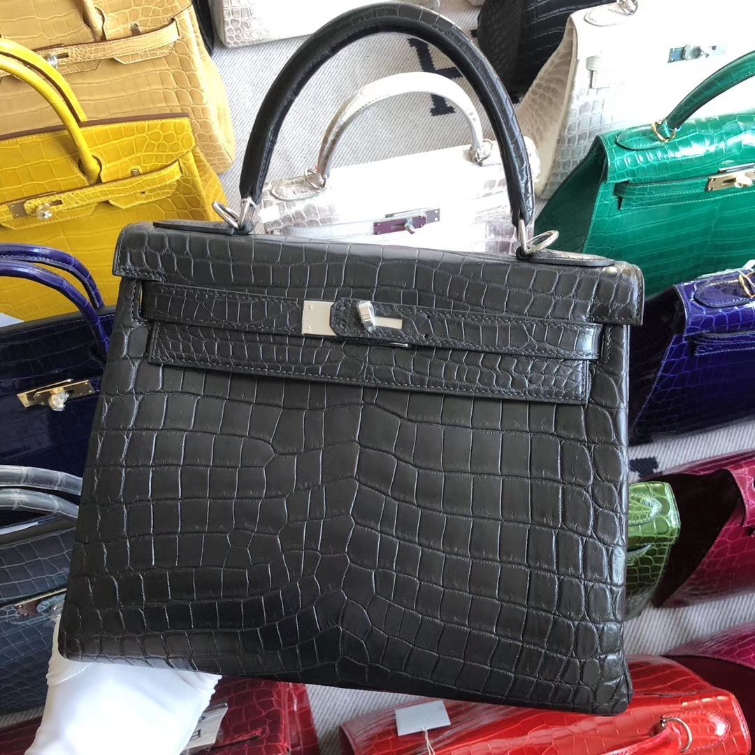 Stock Hermes Matt Crocodile Kelly Bag28CM in CK89 Noir Silver Hardware