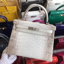 Stock Hermes Himalaya Crocodile Retourne Kelly Bag28CM Silver Hardware
