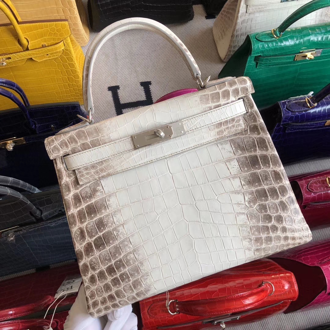 Stock Hermes Retourne Kelly28CM Bag in Himalaya Matt Crocodile Leather Silver Hardware