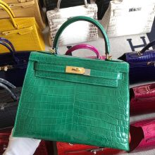 Stock Hermes 6Q Vert Emerald Shiny Crocodile Kelly Bag28CM Gold Hardware