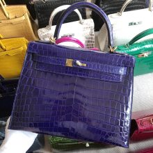 Stock Hermes Shiny Crocodile Kelly28CM Bag in 7T Blue Electric Gold Hardware