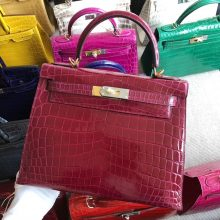Stock Hermes N5 Cassis Purple Shiny Crocodile Kelly Bag28CM Gold Hardware