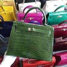 Stock Hermes Shiny Crocodile Kelly28CM Bag in Grass Green Silver Hardware