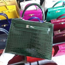Stock Hermes CK67 Vert Fonce Shiny Crocodile Kelly Bag28CM Silver Hardware