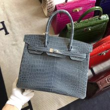 Stock Hermes Shiny Crocodile Blue Jean Birkin Bag30CM Silver Hardware