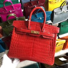 Stock Hermes CK95 Braise Shiny Crocodile Birkin25CM Bag Gold Hardware