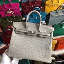 Stock Hermes Matt Crocodile Gris Pearl Birkin Bag25CM Silver Hardware