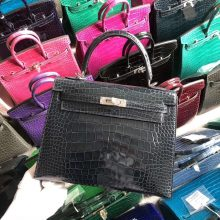 Stock Hermes 73 Dark Blue Shiny Crocodile Kelly25CM Bag Silver Hardware
