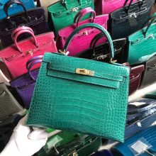 Stock Hermes  Shiny Crocodile 6o Vert Emperor Kelly Bag25CM Gold Hardware