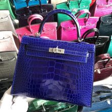 Stock Luxury Hermes 7T Blue Electric Shiny Crocodile Kelly25CM Bag Silver Hardware
