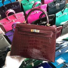 Stock Hermes Shiny Crocodile CK57 Rouge Bordeaux Kelly Bag25CM Gold Hardware