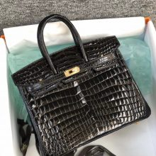 Stock Hermes CK89 Noir Shiny Crocodile Leather Birkin25CM Gold Hardware