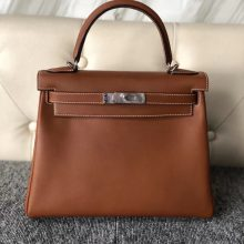 Customize Hermes Gold Bareniz Natural Kelly28CM Bag Silver Hardware