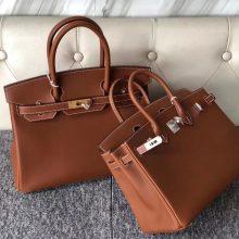 New Hermes CK37 Gold Bareniz Natural Leather Birkin30CM Bag Gold/Silver Hardware