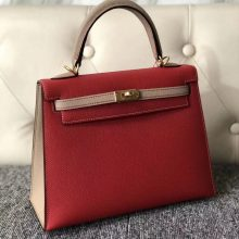 Customize Hermes Q5 Rouge Casaque/S2 Gris Trench Epsom Kelly25CM Bag Gold Hardware