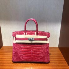 Stock Hermes I6 Rose Extreme Shiny Crocodile Birkin Bag25CM Silver Hardware