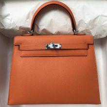 Stock Hermes Orange Epsom Calf Sellier Kelly Bag25CM Silver Hardware
