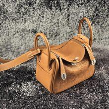 Fashion Hermes Togo Calf CK37 Gold Mini Lindy20CM Bag Silver Hardware