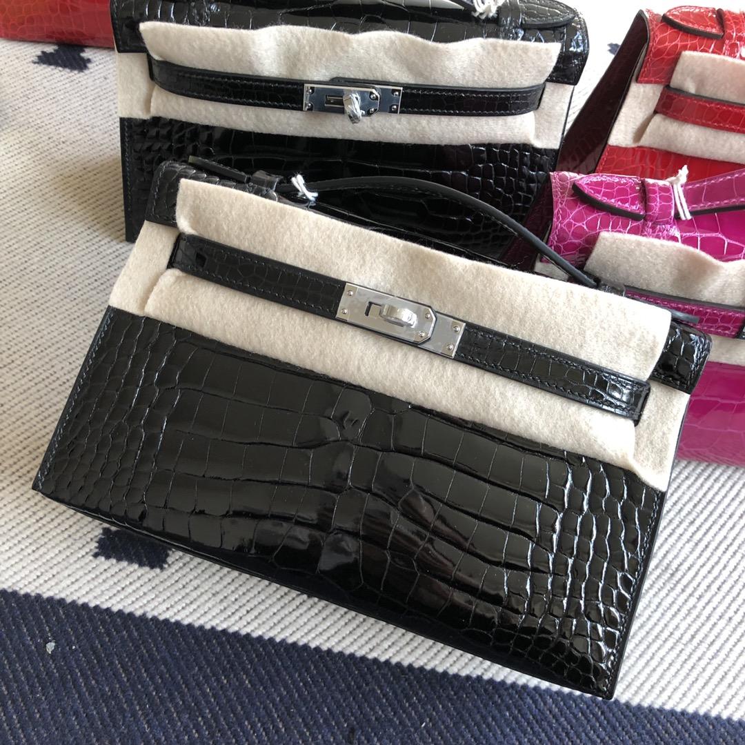 Stock Hermes CK89 Noir AlligatorCrocodile Minikelly22CM Clutch Bag