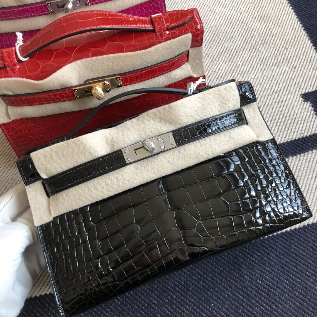 Stock Hermes Minikelly Pochette 22CM CK89 Noir Crocodile Leather Silver Hardware