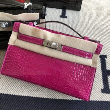 Stock Hermes J5 Rose Scheherazade Alligator Crocodile Minikelly22CM Silver Hardware