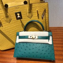 Customize Hermes Vert Malachite KK Ostrich Minikelly-2 Clutch Bag Gold Hardware