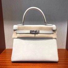 Stock Hermes CK10 Craie White Suede Kelly28CM Bag Silver Hardware