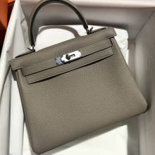 Stock Hermes Gris Ashpit Togo Calf Kelly28CM Bag Silver Hardware