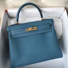Stock Hermes Togo Kelly28CM Bag in CK75 Blue Jean Gold Hardware