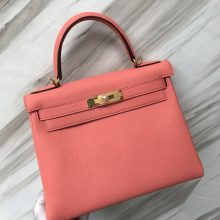 Stock Hermes Rose Crevetti Togo Calf Kelly28CM Bag Gold/Silver Hardware